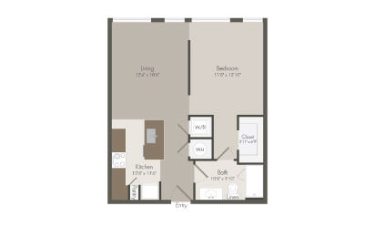 A1 - 1 bedroom floorplan layout with 1 bath and 672 square feet
