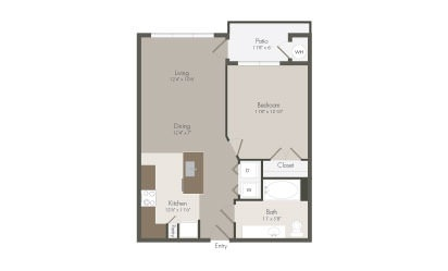 A2 - 1 bedroom floorplan layout with 1 bath and 702 square feet