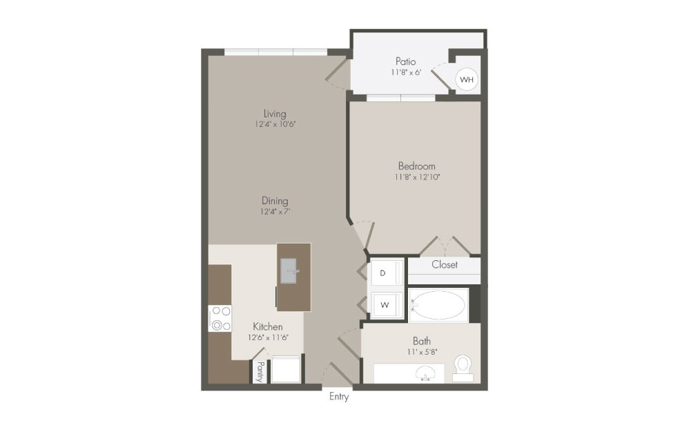 A2 - 1 bedroom floorplan layout with 1 bath and 702 square feet (1st floor 2D)