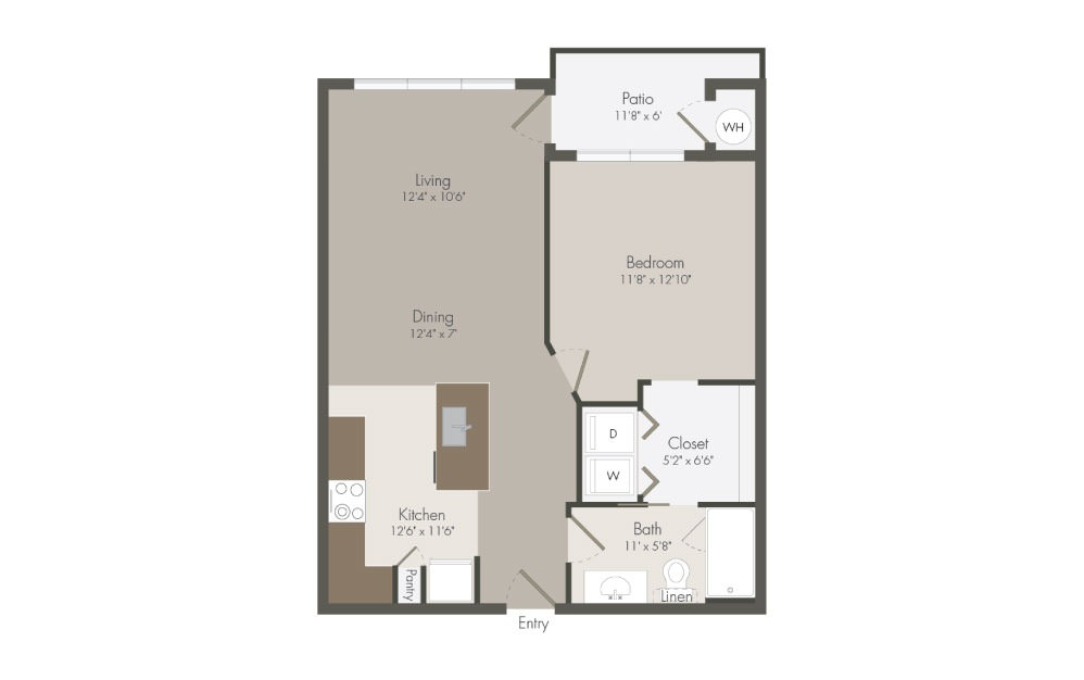 A3 - 1 bedroom floorplan layout with 1 bath and 714 square feet (1st floor 2D)