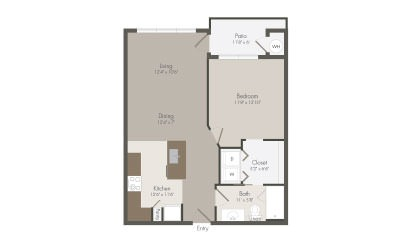 A3 - 1 bedroom floorplan layout with 1 bath and 714 square feet