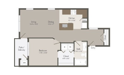A4 - 1 bedroom floorplan layout with 1 bath and 799 square feet