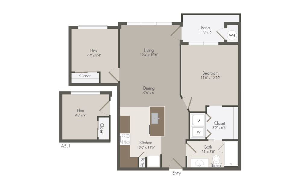 A5 - 1 bedroom floorplan layout with 1 bath and 815 square feet (1st floor 2D)