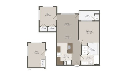 A6 - 1 bedroom floorplan layout with 1 bath and 865 to 869 square feet