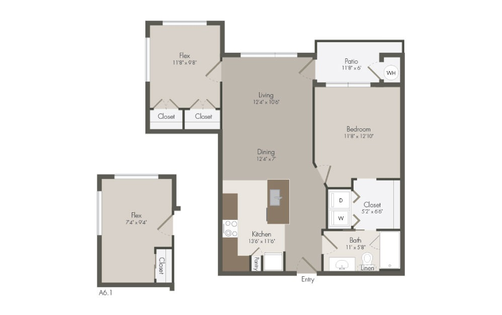 A6 - 1 bedroom floorplan layout with 1 bath and 865 to 869 square feet (1st floor 2D)
