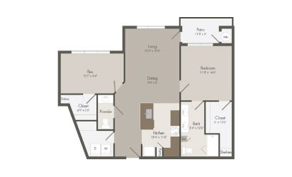 A7 - 1 bedroom floorplan layout with 1.5 bath and 1017 square feet