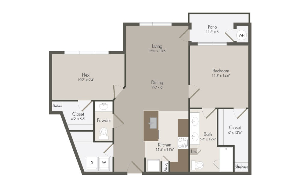 A7 - 1 bedroom floorplan layout with 1.5 bath and 1017 square feet (1st floor 2D)