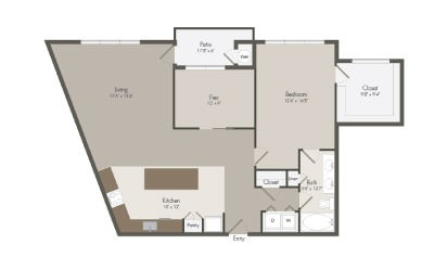 A8 - 1 bedroom floorplan layout with 1 bath and 1239 square feet