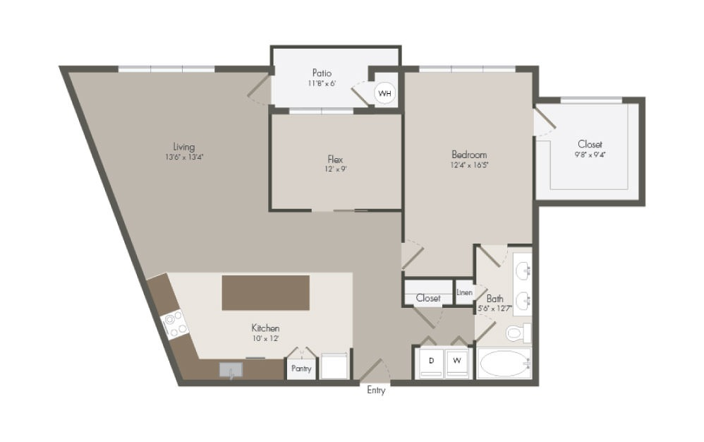 A8 - 1 bedroom floorplan layout with 1 bath and 1239 square feet (1st floor 2D)
