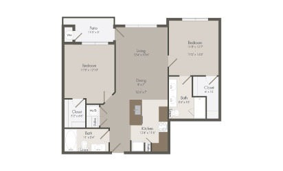 B1 - 2 bedroom floorplan layout with 2 bath and 1001 square feet