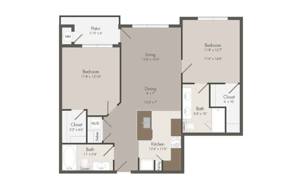 B1 - 2 bedroom floorplan layout with 2 bath and 1001 square feet (1st floor 2D)