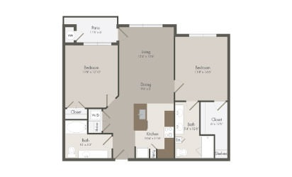 B2 - 2 bedroom floorplan layout with 2 bath and 1038 square feet