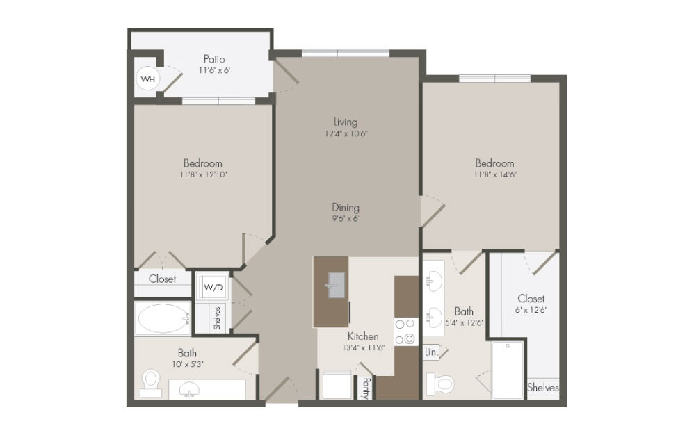 B2 - 2 bedroom floorplan layout with 2 bath and 1038 square feet (1st floor 2D)