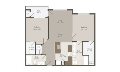 B3 - 2 bedroom floorplan layout with 2 bath and 1051 square feet