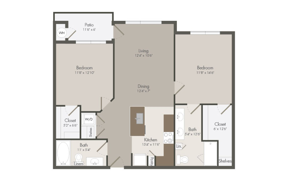 B3 - 2 bedroom floorplan layout with 2 bath and 1051 to 1078 square feet (1st floor 2D)