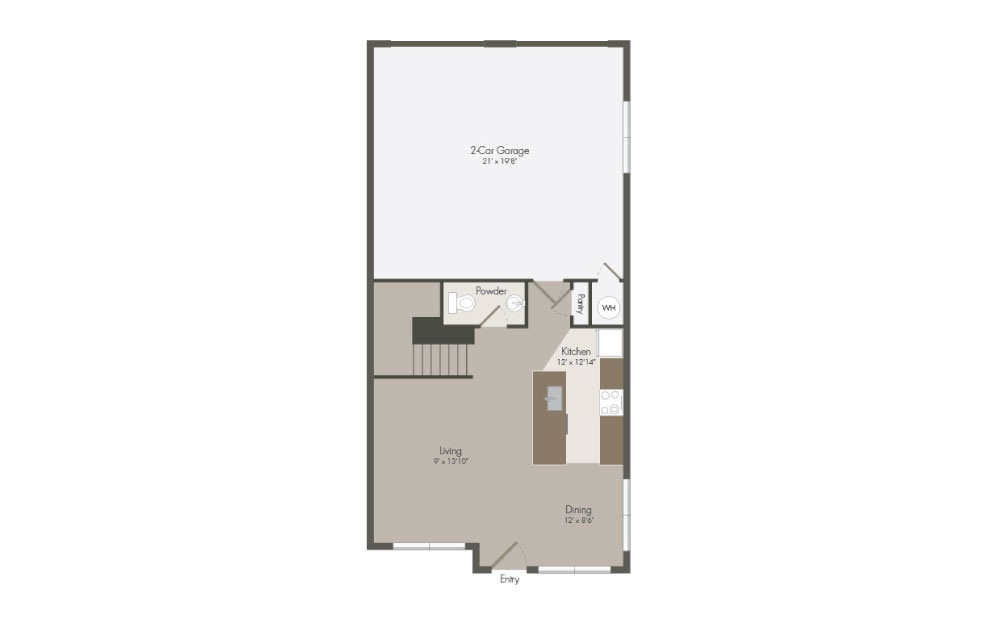 C1 - 3 bedroom floorplan layout with 2.5 bath and 1401 square feet (1st floor 2D)