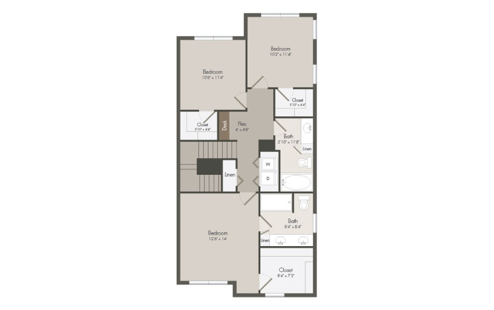 C1 - 3 bedroom floorplan layout with 2.5 bath and 1401 square feet (2nd floor 2D)