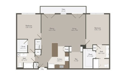 PH - 2 bedroom floorplan layout with 2 bath and 1490 square feet