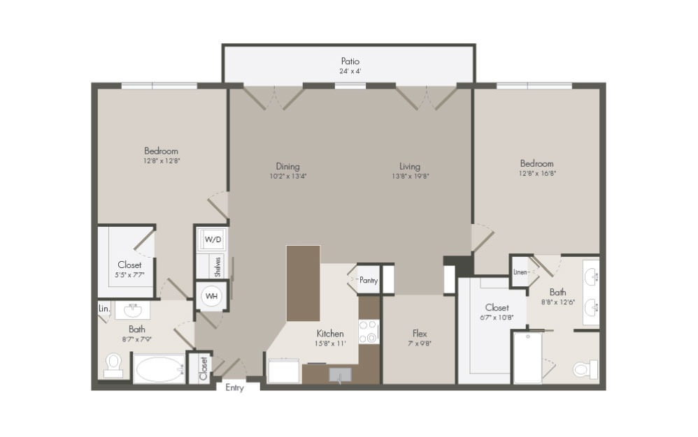 PH - 2 bedroom floorplan layout with 2 bath and 1490 square feet (1st floor 2D)