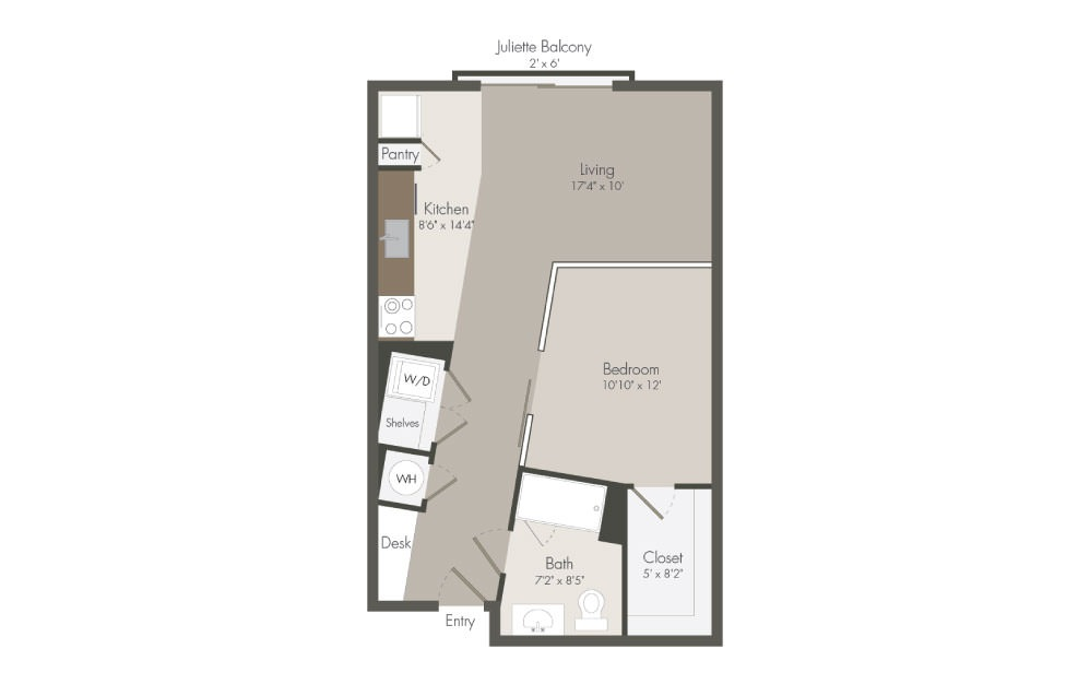 S1 - 1 bedroom floorplan layout with 1 bath and 626 square feet (1st floor 2D)