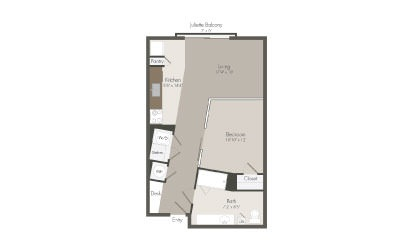 S2 - 1 bedroom floorplan layout with 1 bath and 626 square feet