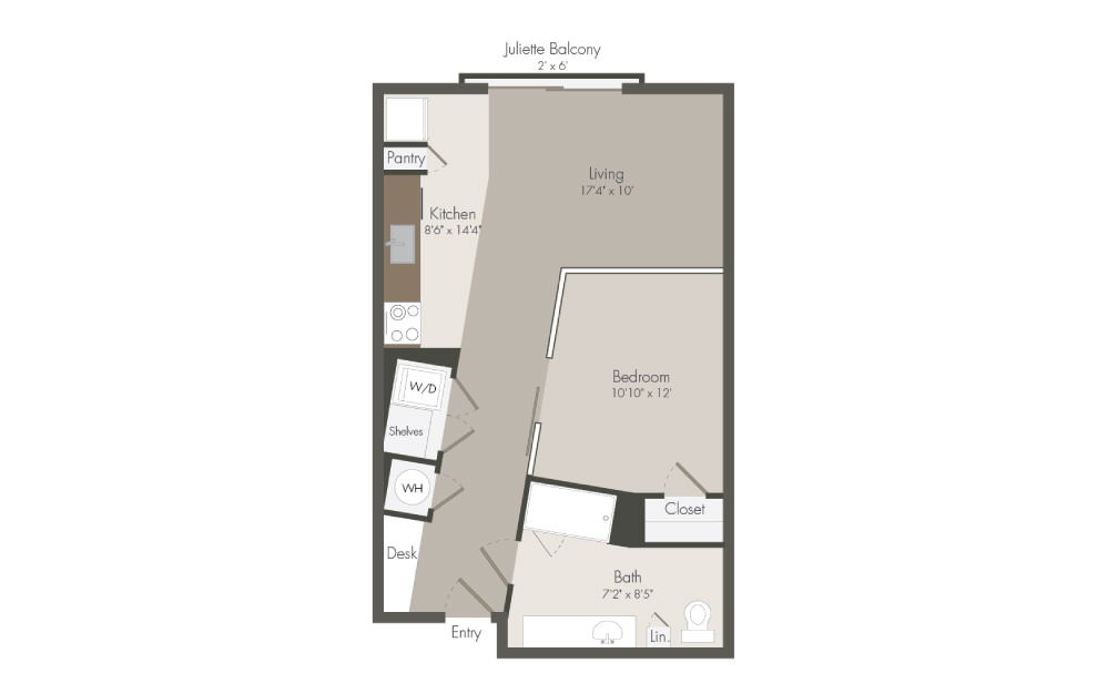 S2 - 1 bedroom floorplan layout with 1 bath and 626 square feet (1st floor 2D)